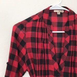 Tops - Black and Red Plaid Tunic Size Medium